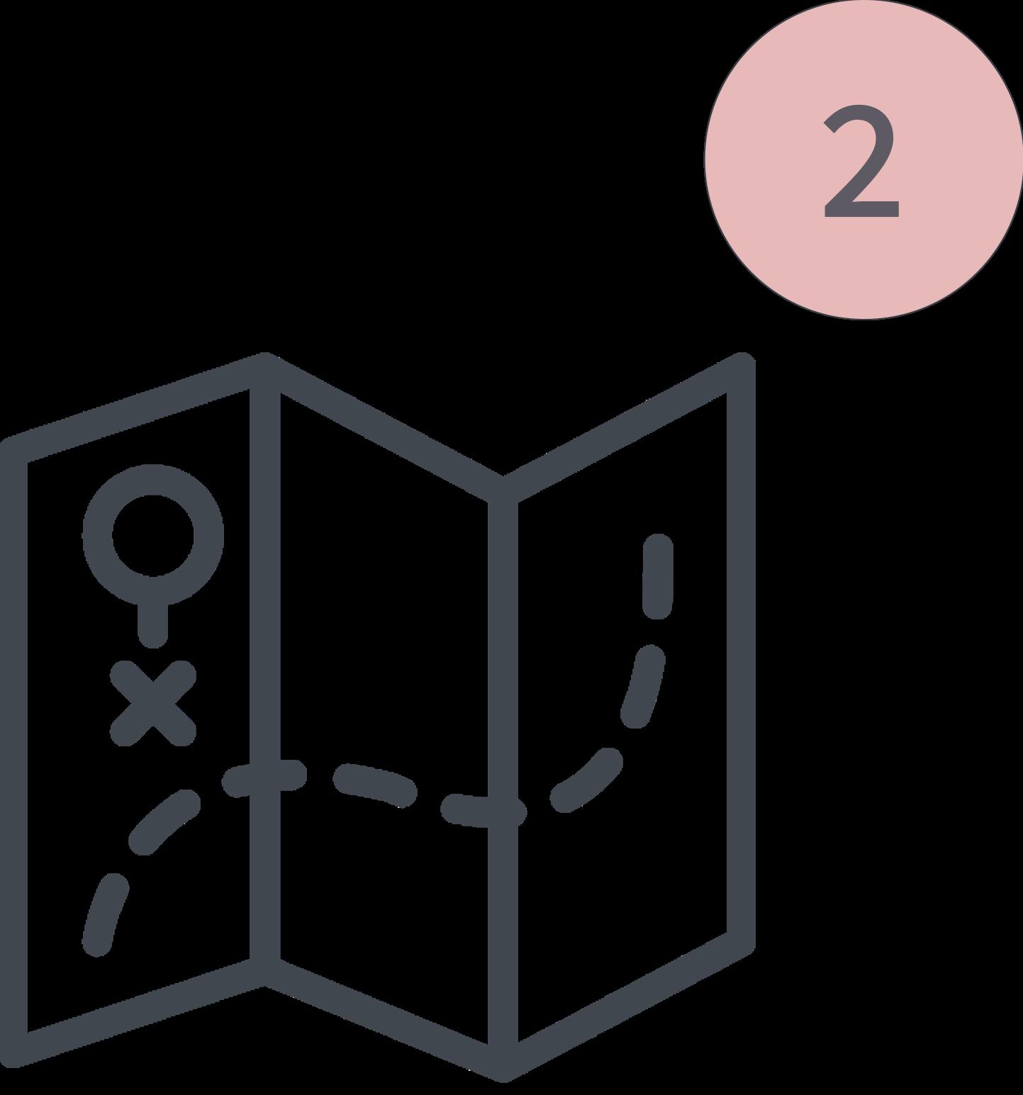 Das Bild zeigt einen Icon für den 2. Schritt der Tiny House Beratung. Zu sehen ist eine Karte, die auf das Thema Baurecht und Grundstückssuche hinweist.