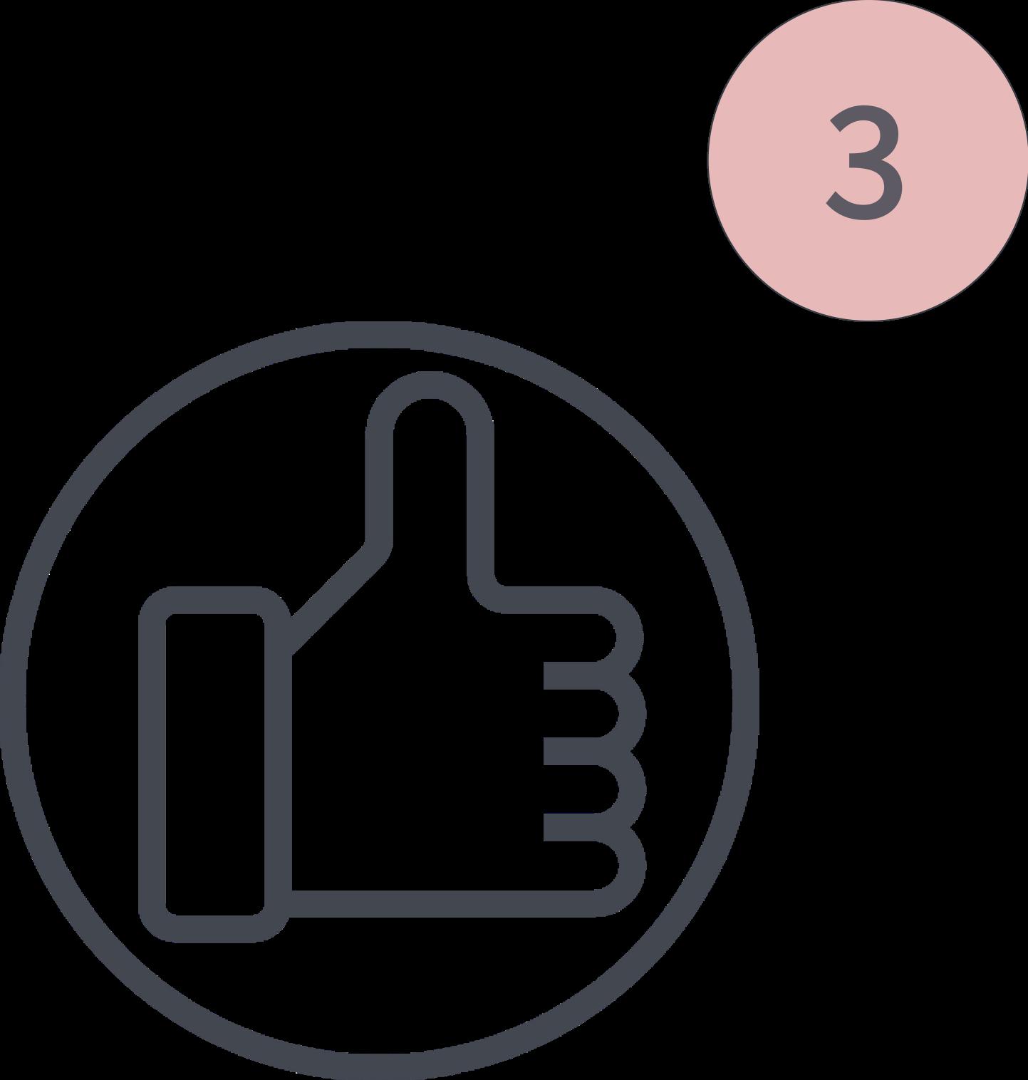 Das Bild zeigt einen Icon für den 3. Schritt der Tiny House Beratung. Zu sehen ist eine Daumen nach oben Icon, das für die Empfehlung des passenden Anbieters steht