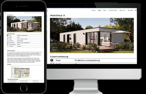 Das Bild zeigt einen Computer und ein Iphone auf dem Abbildungen des Anbietercoachings zu sehen sind, das für den Kauf einen Tiny House wichtig empfohlen wird