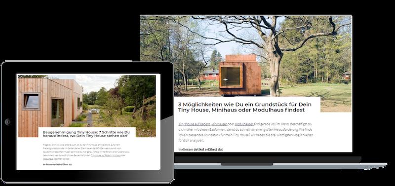Das Bild zeigt einen Computer und ein Ipad auf dem Abbildungen des Baurechtscoachings zu sehen sind, das für den Kauf einen Tiny House wichtig empfohlen wird
