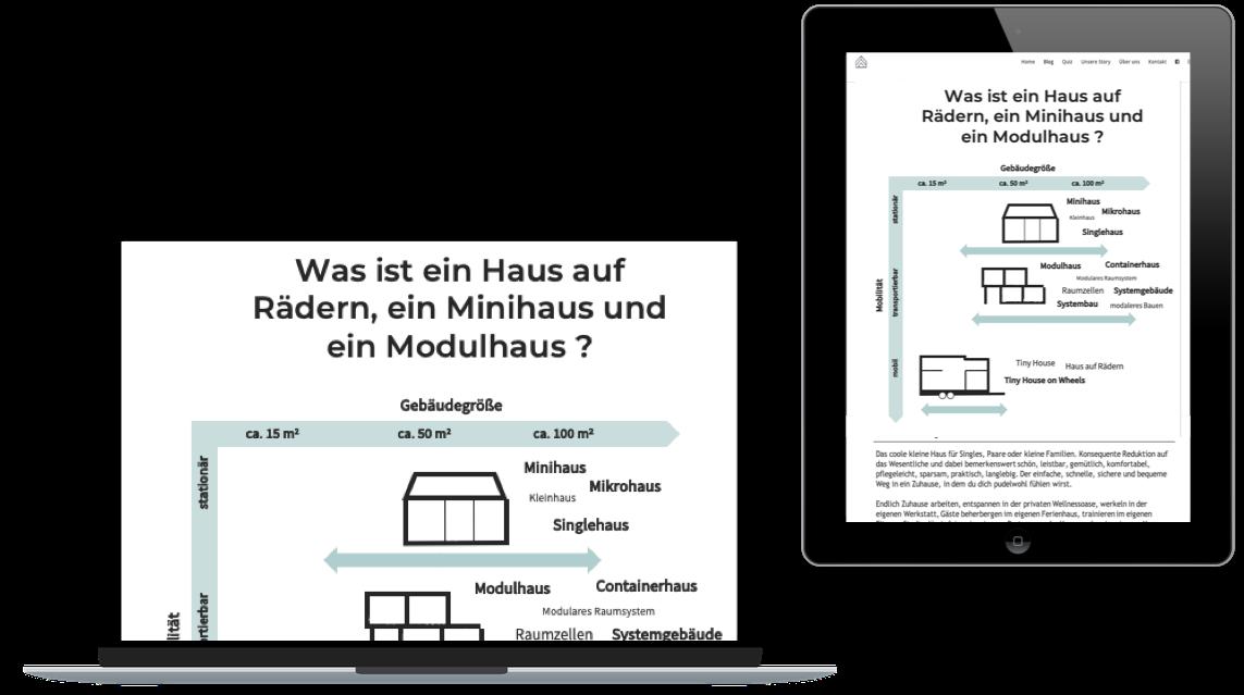 Das Bild zeigt einen Computer und ein Ipad auf dem Abbildungen des Coachings zu sehen sind, das für den Kauf einen Tiny House wichtig empfohlen wird