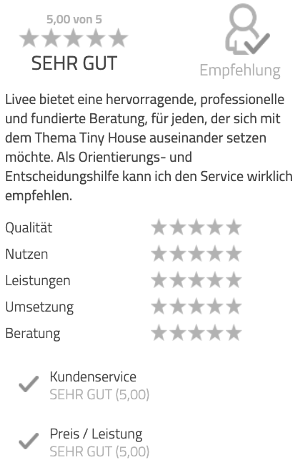 Das Bild zeigt die Kundenbewertung für das Tiny House Coaching. Zu sehen ist das individuelle Feedback des Kunden