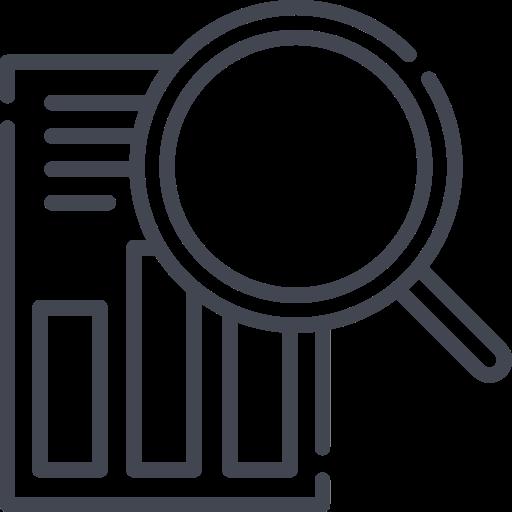 Das Bild zeigt ein eine Lupe über einem Dokument. Das Icon für die Tiny House Recherche