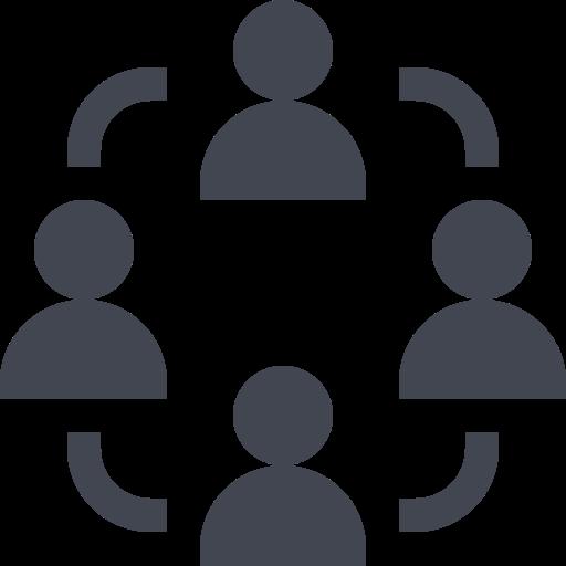 Das Bild zeigt eine mehrere Menschen im Austausch. Das Icon steht für das Tiny House Netzwerk