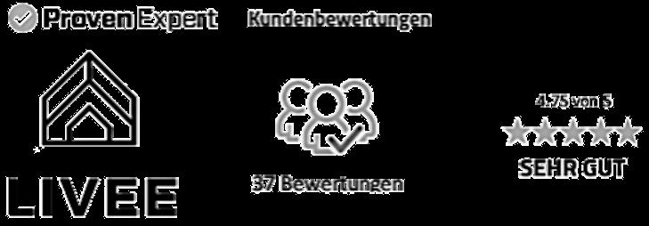 Das Bild zeigt das LIVEE Logo und die Anzahl an positiven Bewertungen über das Bewertungsportal von Proven Expert